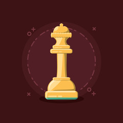 chess board design with queen piece over red background, colorful design. vector illustration