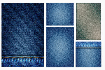 Set of jeans illustrations, blue denim background with pocket or texture border element. Geometric denim surface pattern for flyers. Abstract indigo dyed effect decorative textured background. Vector.