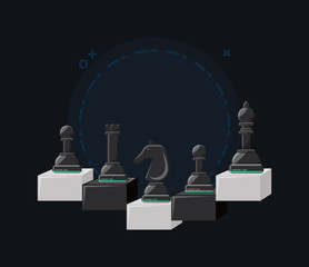 chess game design with pieces over black background, vector illustration