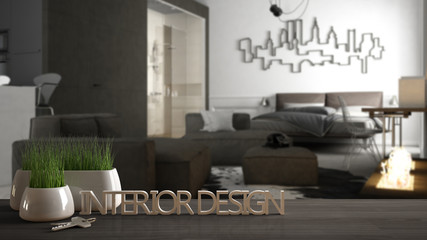 Wooden table, desk or shelf with potted grass plant, house keys and 3D letters making the words interior design, over blurred open space, project concept copy space background