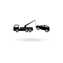 Tow truck with car on it, flat style illustration, Car tow service icon