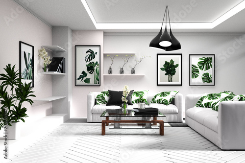 Scandinavian Living Room Interior Room Modern Tropical Style With
