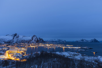 Aerial view of Svolvaer in evening twilight