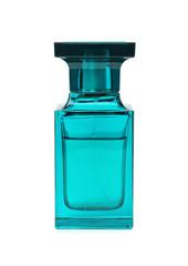 Transparent bottle of perfume on white background