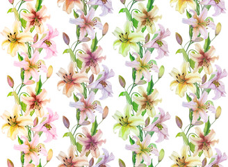 Beautiful lily flowers with green leaves in straight lines on white background. Seamless floral pattern. Watercolor painting. Hand drawn and painted  illustration.