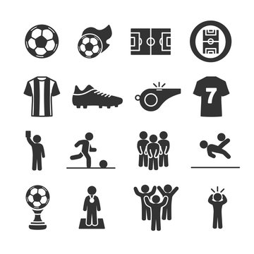Vector image set of soccer icons.