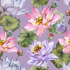 Exotic pink and purple lotus flowers with leaves on lilac  background. Beautiful floral seamless pattern. Hand drawn illustration. Watercolor painting.