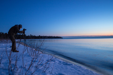 Photographing the sunrise over Lake Huron