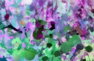 Abstract watercolor chaotic splashes of color paint artwork. Famous modern style painting art. Hand drawn on canvas texture background. Colorful expression wallpaper.