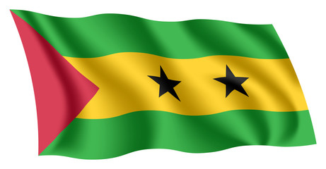 Sao Tome and Príncipe flag. Isolated national flag of Sao Tome and Príncipe. Waving flag of the Democratic Republic of Sao Tome and Príncipe. Fluttering textile santomean flag.