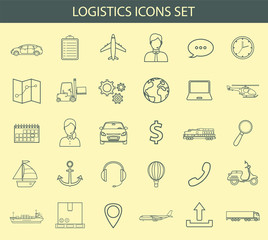 Logistics icons set. Delivery and Transportation. Outline icons. Vector