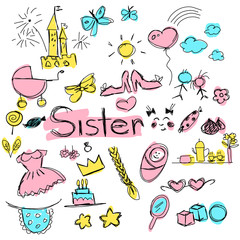 children's colored vector drawing with images of elements characterizing the sister, many elements drawn carelessly by hand