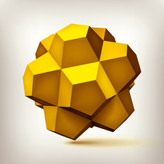 Volume polyhedron gold star, 3d object, geometry shape, mesh version, abstract vector element for you design project