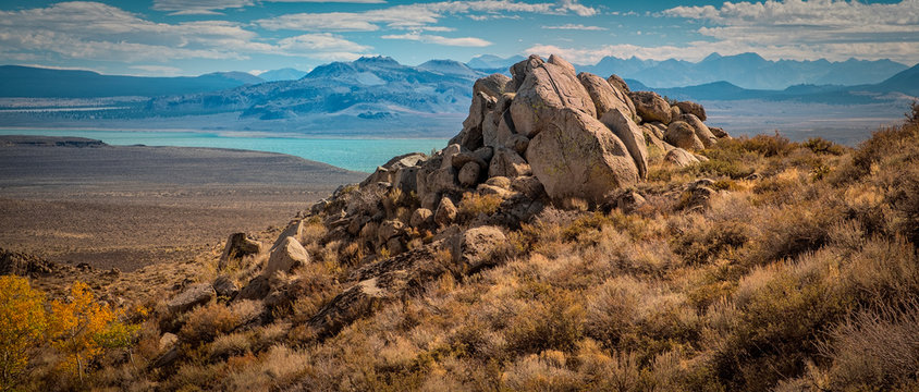 Rocky boulders overlook Mono Lake in northern California.