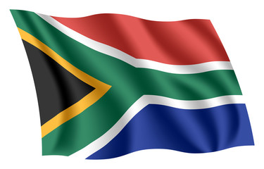 South Africa flag. Isolated national flag of South Africa. Waving flag of the Republic of South Africa (RSA). Fluttering textile south african flag.