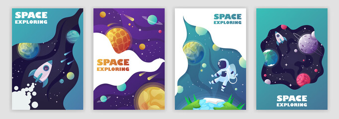 set of banner templates. universe. space. space trip. design. vector illustration