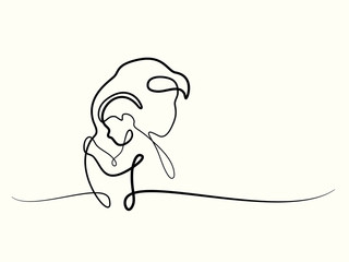 Logo with mother holding her baby. Continuous line drawing vector illustration. Concept for logo, card, banner, poster, flyer