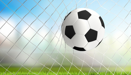 soccer goal white black ball 3d rendering
