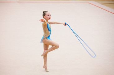 Printed roller blinds Gymnastics Adorable girl competing in rhythmic gymnastics
