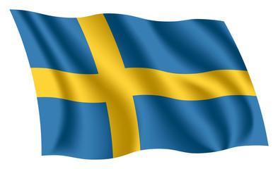 Sweden flag. Isolated national flag of Sweden. Waving flag of the Kingdom of Sweden. Fluttering textile swedish flag.