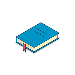 Book icon isometric, Vector flat blue symbol isolated on white