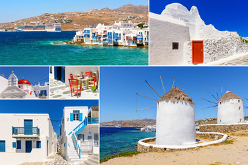 Collage of images from Mykonos island. Cyclades, Greece