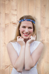 Pretty hipster blonde against bleached wooden planks background