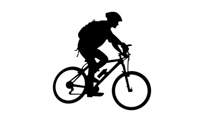 the silhouette of a man riding a mountain bike with a backpack