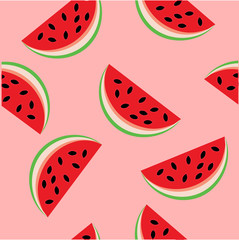 Colorful seamless pattern with red slices of fresh watermelon on pink background. Backdrop with summer delicious refreshing fruits. Vector illustration for wrapping paper, textile print, wallpaper