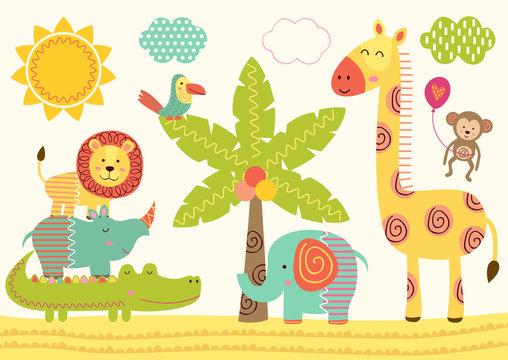baby jungle animals near the palm tree - vector illustration, eps