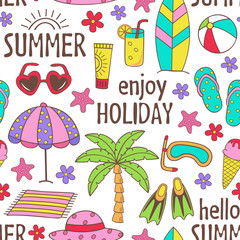 seamless pattern with summer icons on white background - vector illustration, eps