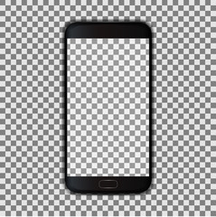 Black smartphone with transparent screen - stock vector