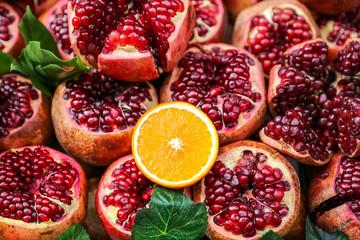 Group of half pomegranates