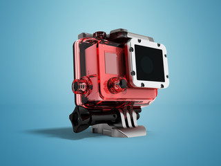 Action camera for shooting in water in a case of durable glass on the left with a foot for attachment 3d render on a blue background with a shadow