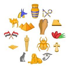 Egypt travel icons set. Cartoon illustration of 16 Egypt travel vector icons for web