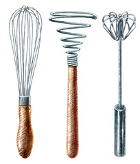 whisk  watercolor illustration, isolated on white