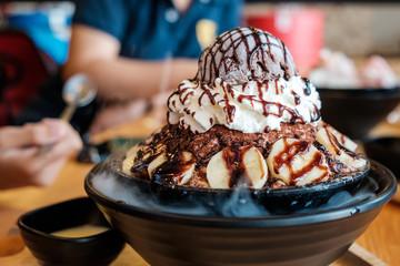 Chocolate Banana Bingsu [Korean Shaved Ice, Korean Style Dessert] on the Party Table.