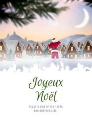Photo sur Plexiglas Bleu clair Santa delivery presents to village against joyeux noel