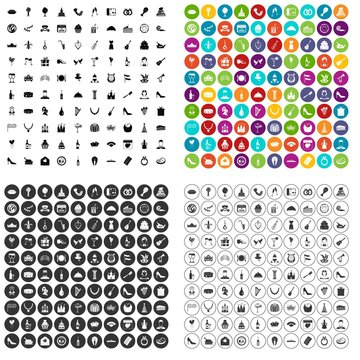 100 banquet icons set vector in 4 variant for any web design isolated on white