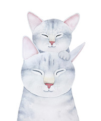 Cat and kitten family characters illustration. Smiling cheerful faces, closed eyes, fluffy funny noses, grey pastel colours. Hand painted watercolour graphic painting on white background, isolate.