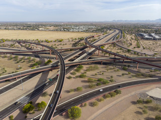 Aerial View Of A Highway Overpass System