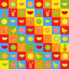 Set of colored isolated mouth-watering fruits. Bright tropical food. Lime, lemon, grapefruit, orange, pineapple, kiwi, banana, watermelon. Cocktail with a straw. Simple flat vector illustration.