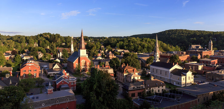 Looking down on churches and historic buildings in Montpellier, Vermont