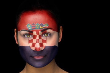 Composite image of croatia football fan in face paint against black