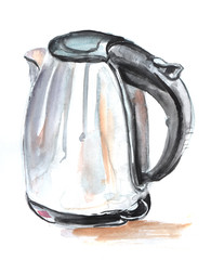 Sketch of Electric kettle with a gray metal case and a black plastic handle. Hand-drawn real watercolor illustration. Isolated on white background.