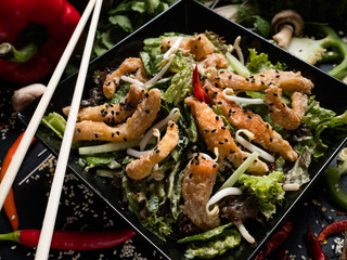 fried squid wheat sprouts and veggies dish recipe. meal food ingredients and cooking process. asian cuisine