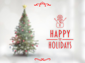 Happy holidays banner against blurry christmas tree in room