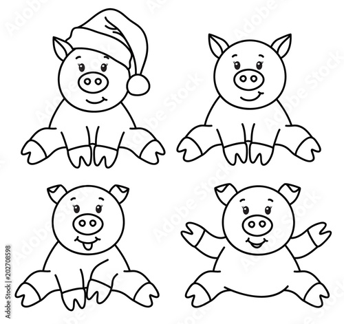 vector pig cartoons black silhouettes isolated on white stock