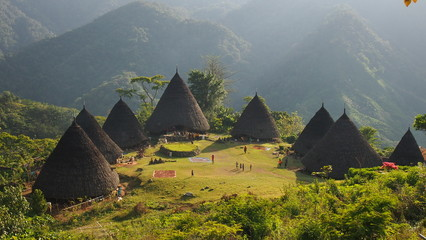 Self adhesive Wall Murals Indonesia Wae Rebo Village in Flores Indonesia