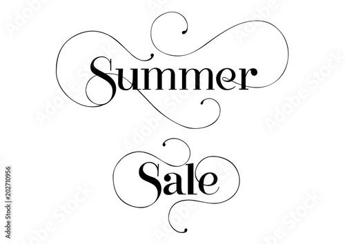 summer sale seasonal sign template handwritten text with swirls can